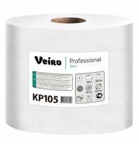 фото: Бумажные полотенца Veiro Professional Basic KP105 в рулоне с центральной вытяжкой, 300м, 1 слой, белые, 6 рулонов